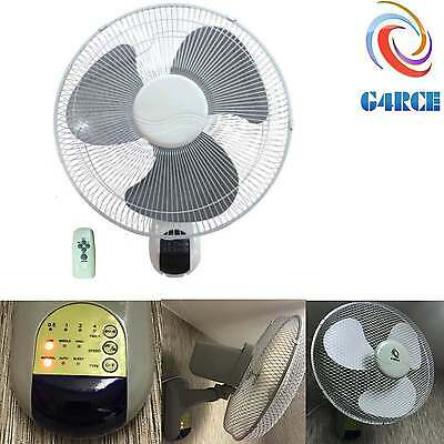 """Oscillating 3 Speed 16"""" Wall Mounted Home Office 40W Fan with Remote Control"""