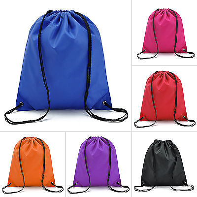 Waterproof Drawstring RuckSack Travel Backpack Swim School Shoes Gym Sports Bag