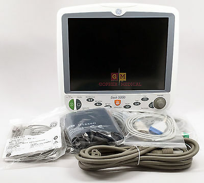 GE Dash 5000 Color Patient Monitor (2012) with C02, New Accessories and Warranty