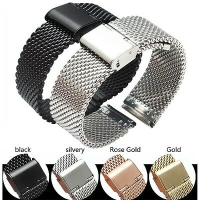 Metal Mesh Band Milanese Stainless Steel Woven Watch Band Strap 18 20 22 24mm