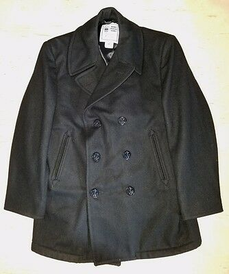 US Navy Peacoat 100% Wool Dark Navy Blue Size 44S Real USN Issue