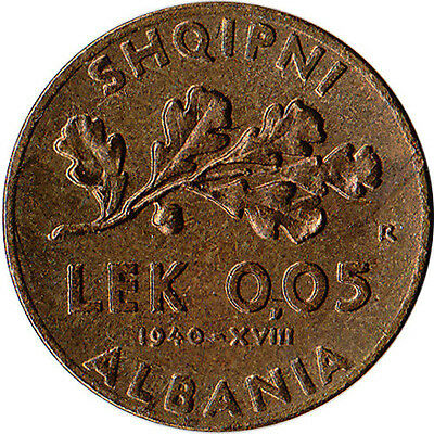1940 Albania 0.05 Lek Coin WWII Italian Occupation KM#27 High Grade