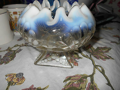 Northwood Opalescent Shell & Bead Pedestal Rose Bowl Dish~Double Ruffled~Fancy