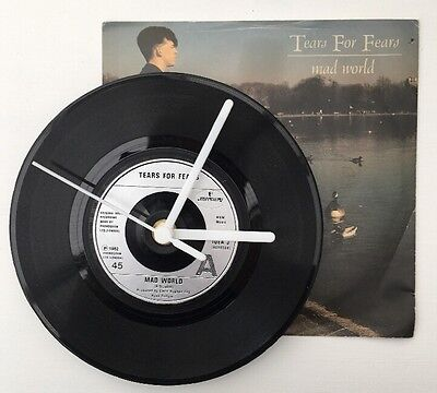 "Tears For Fears - Mad World Upcycled 7"" Record Clock IDEA3 80's Retro Gift"