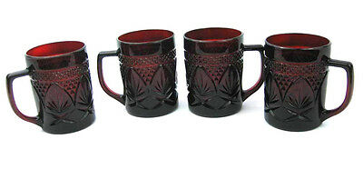Cristal D'Arques-Durand Luminarc Ruby Red Pressed Glass Mugs Made In France (4)