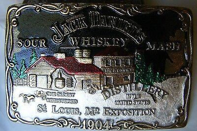 Vintage JACK DANIELS Sour Mash Whiskey St Louis Brass Belt Buckle 1904
