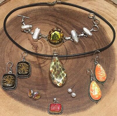 7 Pc Lot Sterling Silver 925 Jewelry Pearl Fancy Mermaid Dichroic Glass Yellow
