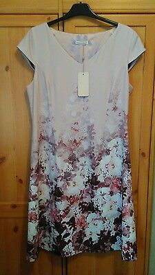 Jacques Vert Rose Dusty Pink Dress With Deep Floral Border Bnwt Size 14 Sale