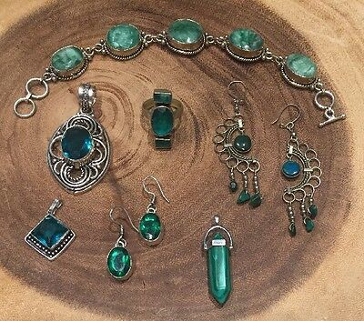 7 Pc Lot Sterling Silver 925 Turquoise Green Agate Malachite Topaz Earrings Ring