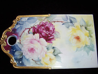 Vintage Hand Painted Roses On Porcelain Plaque