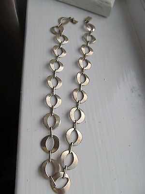 Vintage Solid Silver Round Disc Linked Necklace Nv 143 Mexico
