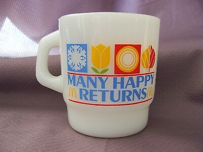 vintage McDonald's many happy returns coffee mug/cup 1982 anchor hocking milk