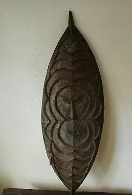 Large Rare early 20th century old amu River Flute Mask Papua New Guinea tribal