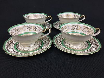 Royal Bayreuth FOUR (4) Cups and Saucers Green Gold Spring Flowers Tulip Center