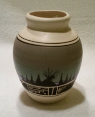 South Dakota Handcrafted Pottery Vase- Black Silhouette Teepee-Artist Signed
