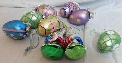 Glass Blown Easter Ornaments  2 Easter Bunnies and 7 Eggs.  Faberge Look