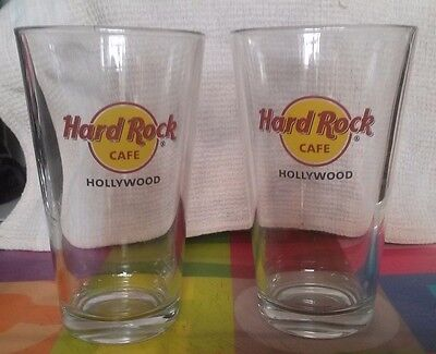 HARD ROCK CAFE Hollywod CA Red Circle Classic HRC Logo PINT GLASS SET