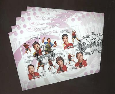 (cto1273) 5x cto, Tabletennis, Small lot, China, Guinea-Bissau