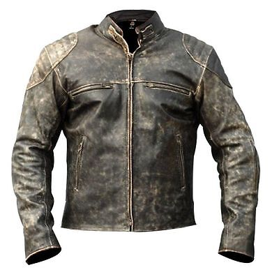 Men's Vintage Motorcycle Distressed Retro Biker Antique Leather Jacket