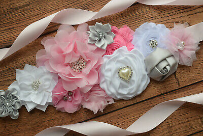 Sash,pink grey white sash , flower Belt, maternity sash, baby shower sash