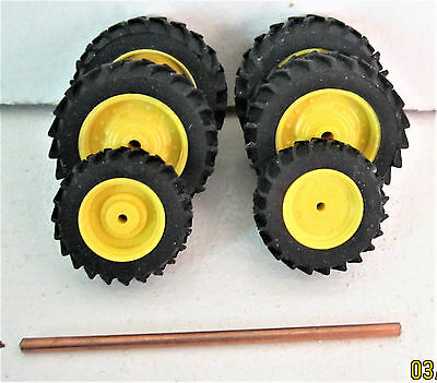 1:64 yellow tractor rims (lot of 6) New Custom Made 4 Rear, 2 Front Tires,1 Axle