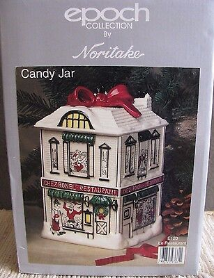 Epoch collection by Noritake Le restaurant Christmas Cookie Candy Jar E 120 NIB