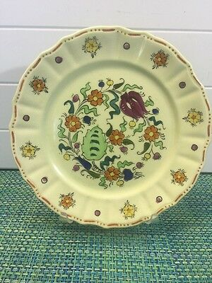 """Vintage Mikori Ware Dinner Plate Hand Painted Floral Pattern 9"""" Yellow"""
