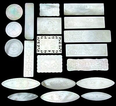 Antique Napoleon III Era Chinese Import 20pc Mother of Pearl Game Chips, Tokens