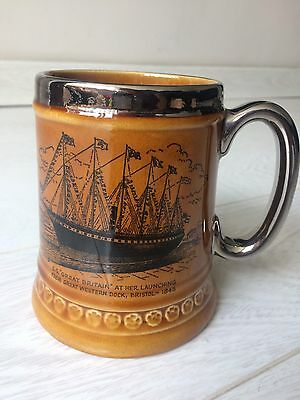 Vintage Lord Nelson Pottery Tankard 'S.S Great Britain' Made In England