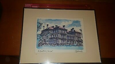 THE BREAKERS NEWPORT RHODE ISLAND PRINT BY Robert E. Kennedy MATTED IN FRAME