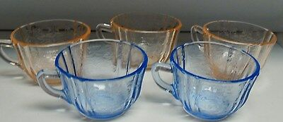 3 Vintage Pink & 2 Blue Depression Glass Cups - Madrid Pattern By Federal