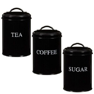 Set of 3 Tea Coffee Sugar Kitchen Storage Canisters Jars Pots Containers (Black)