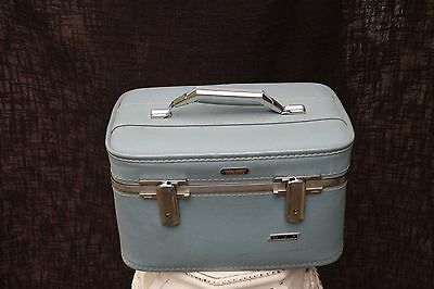 Vintage American Tourister Luggage Train Accessory Case w Tray Mirror lite blue