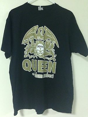 Queen and Adam Lambert Black 2014 Concert TShirt XL Tour Rock Music Mercury NWOT