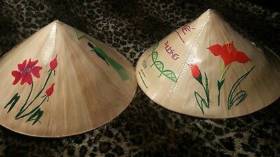 2 Vietnamese Asian bamboo palm leaf hand painted conical hat with ribbon Vietnam