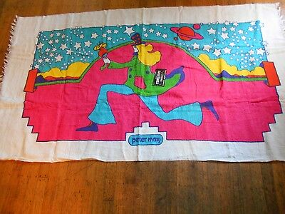 "peter max beach towel running man 59""x34""new old stock with tag"