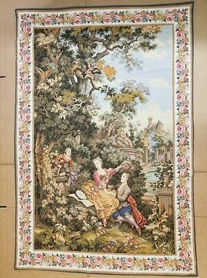 """Large Antique / vintage French Wall Hanging Tapestry 40"""" x 59"""""""