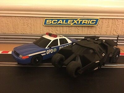 Scalextric Batman Tumbler & Gotham Police Car *Fully Serviced*