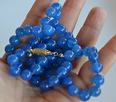 amazing VINTAGE blue CHALCEDONY BEADED NECKLACE HAND KNOTTED 23'' 7 mm