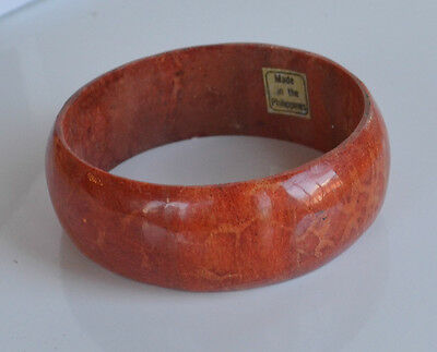VINTAGE HANDMADE undyed RED CORAL BANGLE BRACELET MADE IN PHILIPPINES 43 GR