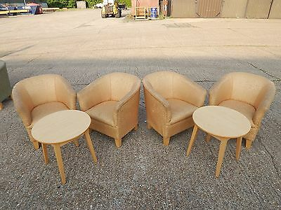 4x Modern Shackletons Kensington tub chair armchairs in gold and 2x oak tables