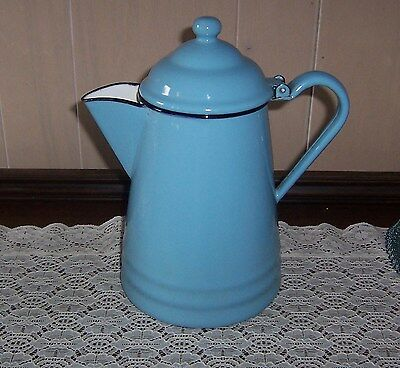 Vintage Graniteware Coffee Tea Pot Blue Enamelware Beautiful Condition