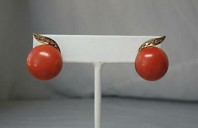 Natural Coral Earrings 16mm 10 Diamond 14K Gold Hollywood Regency Superb!