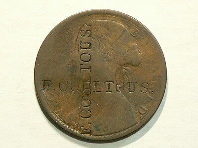 Britain 1862 Penny, Counter Stamp F. Coultous, KM# 749.2   #G5491