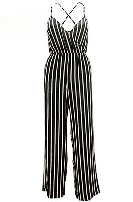 Women Striped Black/Ivory Comfort Jumpsuit soft Romper Overall Ci sono RP34