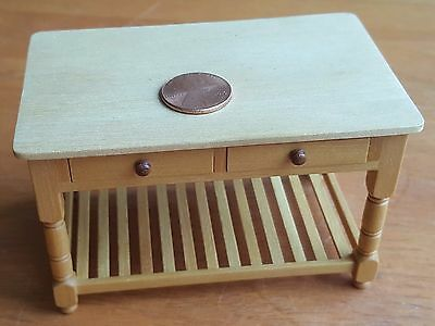 Jane Newman Miniature Dollhouse Kitchen Work Table Wood Signed