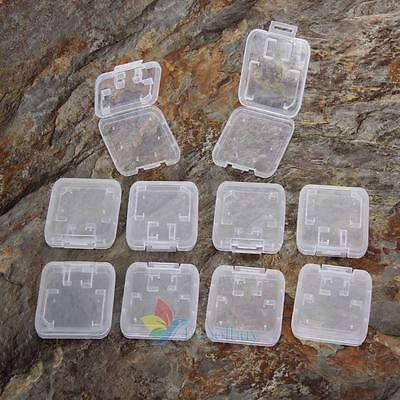 10PCS Transparent Standard SD SDHC Memory Card Case Holder Box Storage US