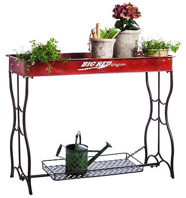 """Vintage Distressed Red Iron Outdoor Potting Table and Bottom Shelf 46"""""""