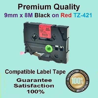 2x Label Tape Refill Brother TZ-421 TZe-421 Black on Red PTouch 9mm x 8m