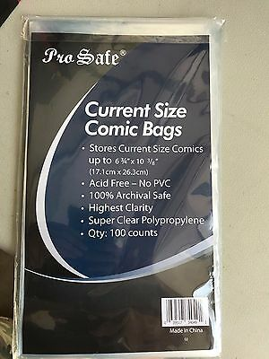 100 Pro Safe Bags And Boards For Comic Books  Current Size    New Free Shipping!